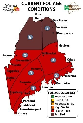 October 18th Maine foliage map.