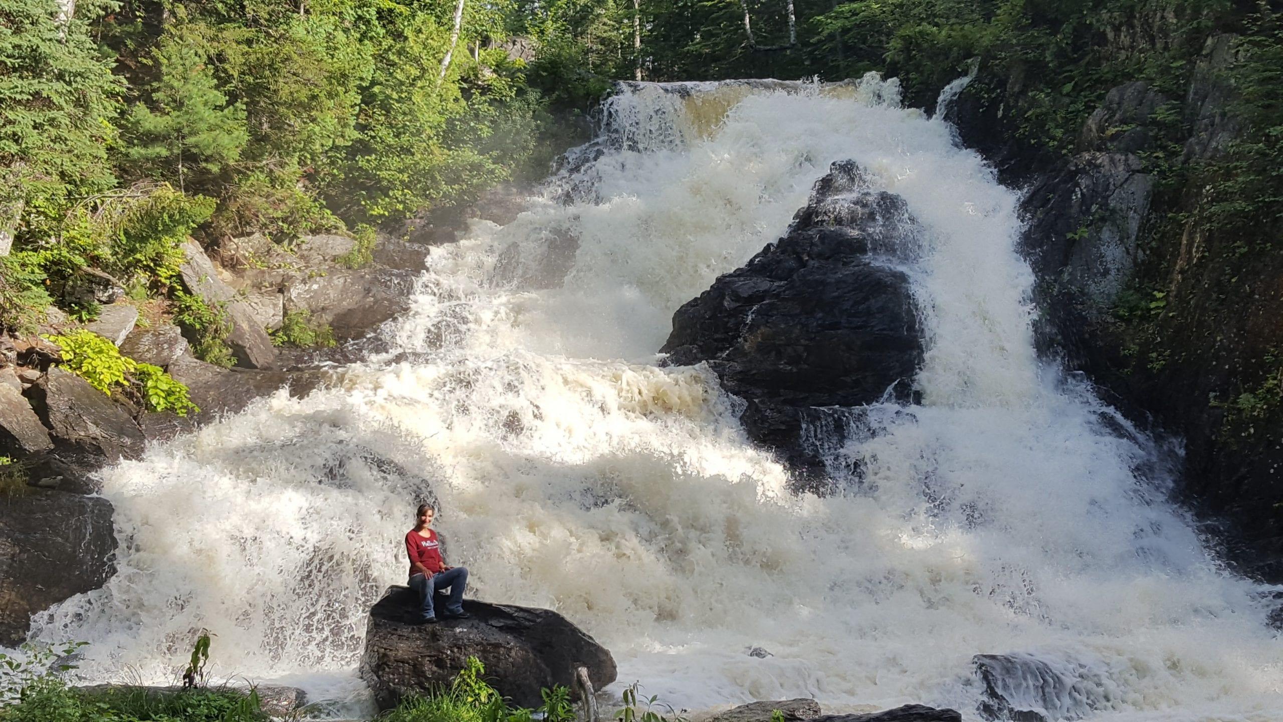 Angela at Shin Brook Falls.