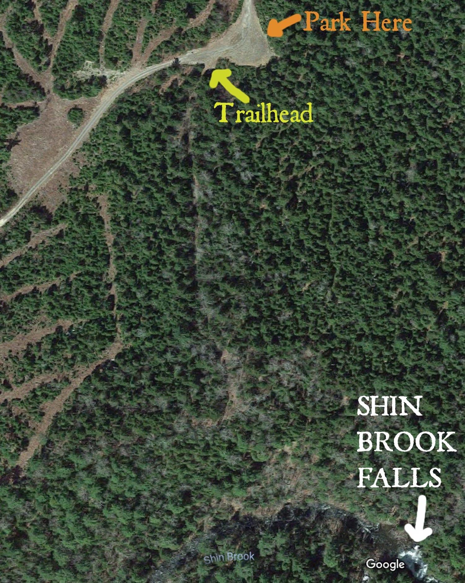 Shin Brook Falls trailhead.